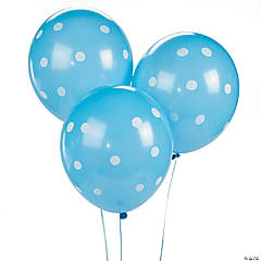 "Blue Polka Dot 11"" Latex Balloons"