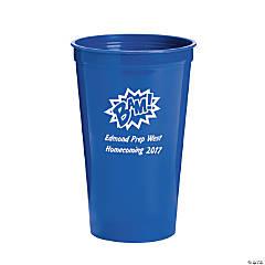Blue Superhero Premium Personalized Plastic Tumblers