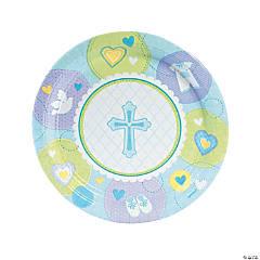 Blue Sweet Christening Paper Dinner Plates - 8 Ct.