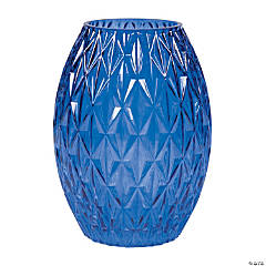 Blue Textured Glass Vase