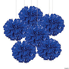Blue Tissue Paper Pom-Pom Decorations