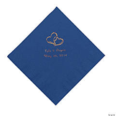 Blue Two Hearts Personalized Napkins with Gold Foil - Beverage