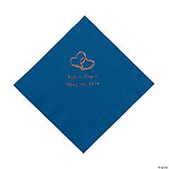 Blue Two Hearts Personalized Napkins with Gold Foil - Luncheon