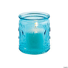 Blue Vintage Glass Votive Candle Holders