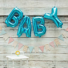 Blue Virtual Baby Shower Decorating Kit