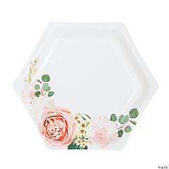 Blush Floral Paper Dessert Plates