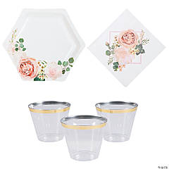 Blush Floral Tableware Kit for 24 Guests