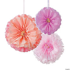 Blush Flower Hanging Tissue Paper Pom-Pom Decorations