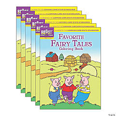 BOOST Educational Series Favorite Fairy Tales Coloring Book, Pack of 6
