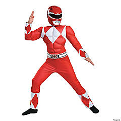 Boy's Classic Muscle Red Ranger Costume - Small