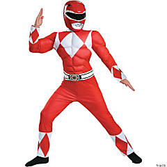 Boy's Classic Muscle Red Ranger Costume