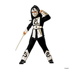 Boy's Silver Dragon Ninja Costume - Large