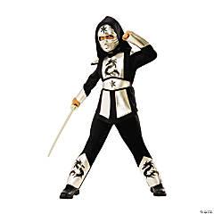 Boy's Silver Dragon Ninja Costume - Small