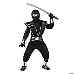 Boy's Silver Mirror Ninja Halloween Costume - Medium
