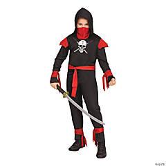 Boy's Black Skull Ninja Costume - Large