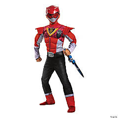 Boy's Classic Power-Up Muscle Mighty Morphin Red Ranger Costume