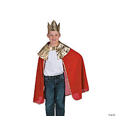 Boy's Red Wise Man's Cape with Crown Costume
