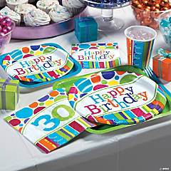 Bright Bold 30th Birthday Party Supplies