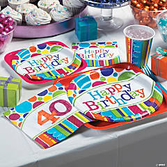 Bright Bold 40th Birthday Party Supplies