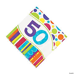 Bright Bold 50th Birthday Luncheon Napkins