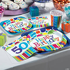 Bright Bold 50th Birthday Party Supplies