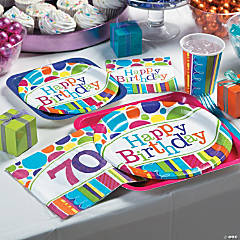 Bright Bold 70th Birthday Party Supplies
