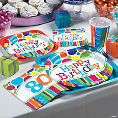Bright Bold 80th Birthday Party Supplies
