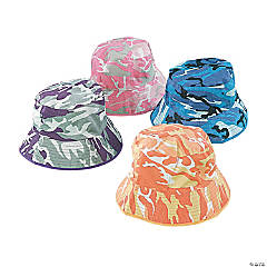 Bright Cotton Camouflage Bucket Hats