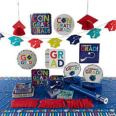 Bright Grad Party Tableware Kit for 50 Guests