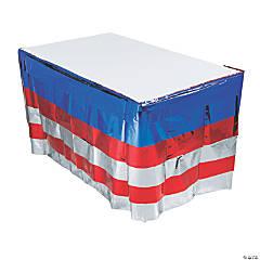 Bright Metallic Patriotic Table Skirt