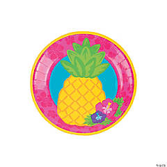 Bright Pineapple Paper Dessert Plates - 8 Ct.