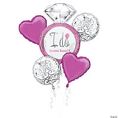Bright Pink Wedding Mylar Balloon Bouquet