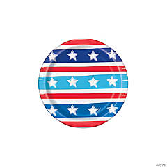Bright Stars & Stripes Dessert Paper Plates - 8 Ct.