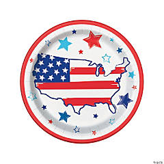 Bright Stars & Stripes Paper Dinner Plates - 8 Ct.