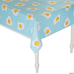Brunch Party Fried Egg Plastic Tablecloth