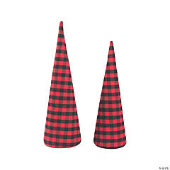Buffalo Plaid Cone Trees