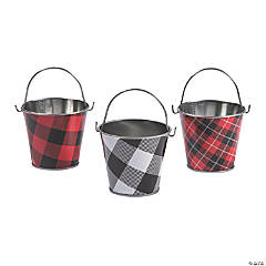 Buffalo Plaid Favor Pails