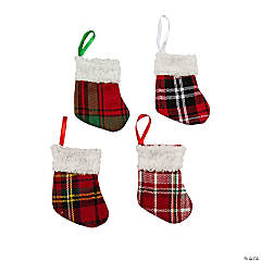 buffalo plaid mini stocking ornaments - Plaid Christmas Ornaments