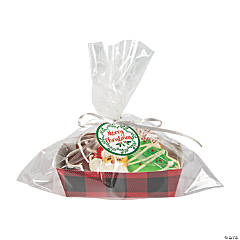 Buffalo Plaid Paper Tray Christmas Treat Giveaway Set