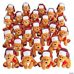 Bulk Christmas Stuffed Dogs with Plaid