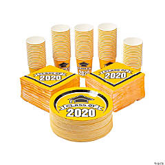 Bulk Class of 2020 Yellow Tableware Kit for 100 Guests