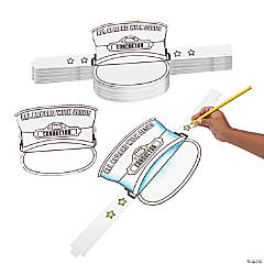 Bulk Color Your Own Railroad VBS Conductor Hats - 48 Pc.