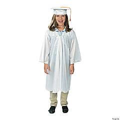 Bulk Elementary School White Graduation Cap & Gown Sets