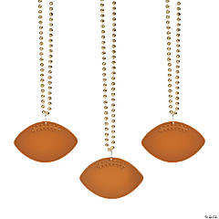 Bulk Gold Bead Necklaces with Football Charms - 150 Pc.