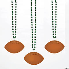 Bulk Green Bead Necklaces with Football Charms - 150 Pc.