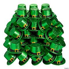 Bulk Green Glitter Leprechaun Top Hats - 72 Pc.