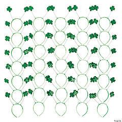 Bulk Green Glitter Shamrock Head Boppers - 60 Pc.