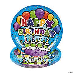 Bulk Happy Birthday Cake Paper Dinner Plates