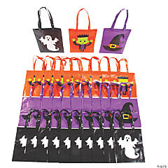 Bulk Large Halloween Character Tote Bags - 48 Pc.