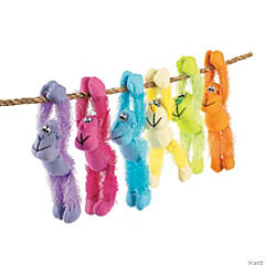 Bulk Long Arm Neon Stuffed Gorillas - 72 Pc.